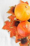 Hokkaido pumpkins with autumn leaves