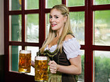 Serving beer during Oktoberfest