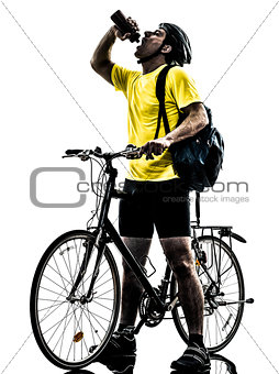 man bicycling  mountain bike drinking silhouette