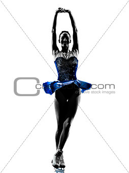 woman ice skater skating silhouette