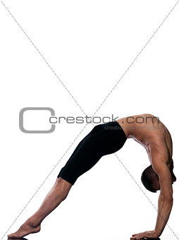 man sarvangasana setu bandha bridge pose yoga
