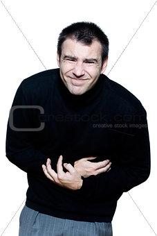 man stomachache cramp illlness