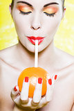 Beautiful Woman Portrait orange drink