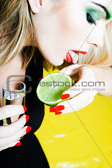 woman drinking Tequilla