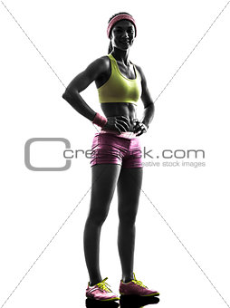 woman runner exercising posing  silhouette