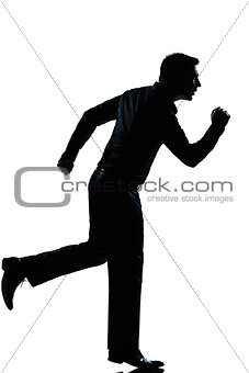 silhouette business man running full length