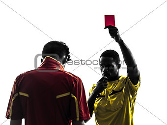 two men soccer player and referee showing red card silhouette