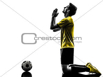 brazilian soccer football player praying  man