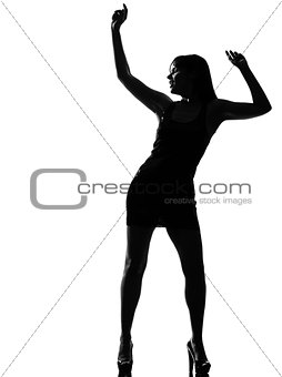 stylish silhouette woman dancer dancing full length