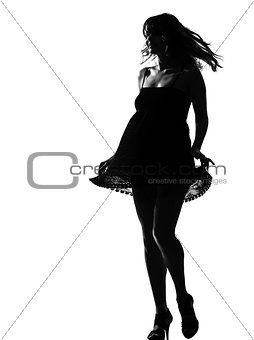 stylish silhouette woman walking dancing