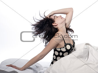 woman in bed awakening