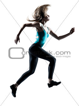 Beautiful fit and healthy blond woman running