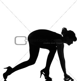 silhouette woman ready to sprint