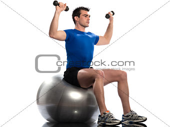 man fitness ball Workout Posture weigth training