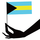Bahamas flag in his hand