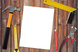 blank page with work tools on wooden background