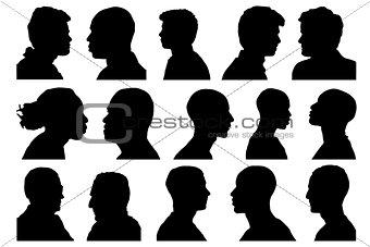 portraits men profile set