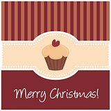 Christmas vector card with sweet muffin cupcake red heart on top and Merry Christmas wishes