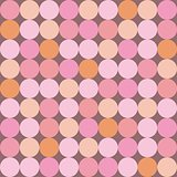 Seamless vector pattern or background with huge colorful dots on dark pink background.