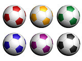 Colorful soccer balls isolated on white background.