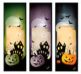 Set of holiday Halloween banners. Vector
