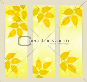 Three autumn banners with yellow leaves Vector