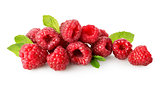 Raspberry with green leaf