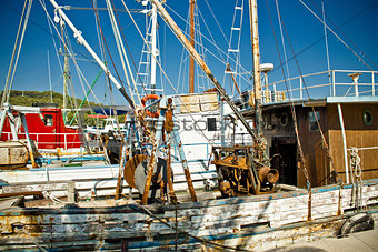 Old fishing boats fleet