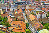 Zagreb - historic lower town architecture & rooftops