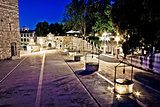 Five well square in Zadar, evening view