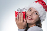 Beautiful woman in a red santa hat