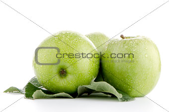 Three fresh green apples