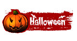 halloween banner with pumpkin and bats