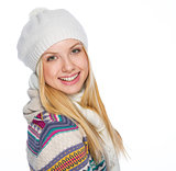 Portrait of happy girl in winter clothes