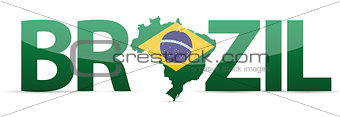 Brazil map text with flag illustration