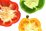 Parts of colorful sweet bell pepper