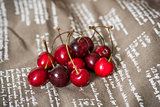 cherries on brown napkin