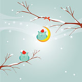 Birds winter illustration for your