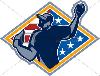 American Baseball Pitcher Throw Ball Retro