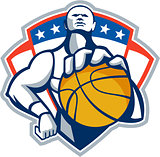 Basketball Player Holding Ball Crest Retro