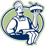 Baker Chef Cook Serving Pie Retro