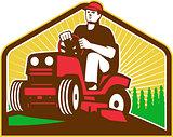 Gardener Landscaper Ride On Lawn Mower Retro