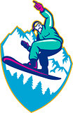 Snowboarder Holding Snowboard Alps Retro