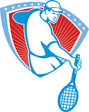 Tennis Player Racquet Shield Retro