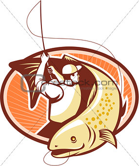 Fly Fisherman Reeling Trout Fish Retro