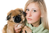 Pretty woman with a pekinese