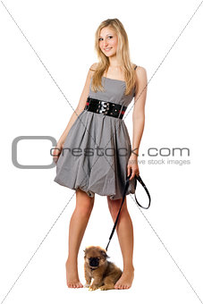 Blonde with pekingese puppy
