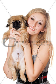 Blonde with a puppy
