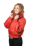 young smiling blonde in red jacket
