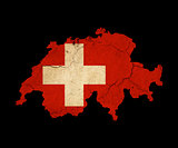 Switzerland grunge map outline with flag